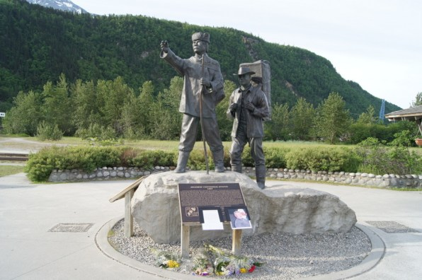 Skagway Centenial Statue. The sculptor was killed in a plane crass two days ago.