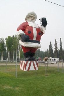 Santa greets you outside the Santa Claus House