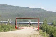 The goalpost like bars are called Headache Bars to keep tall vehicles from having access to the pipeline