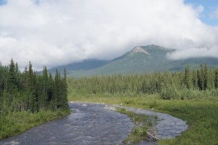 There were still clouds in the sky as we exited Denali National Park and crossed Riley Creek