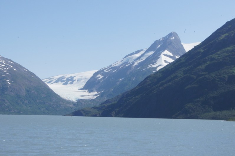 Glacier view from the visitor's center at Portage Lake