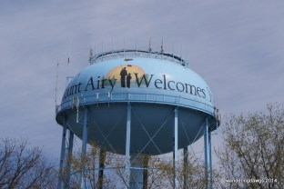 Andy and Opie on the water tower in Mount Airy, NC