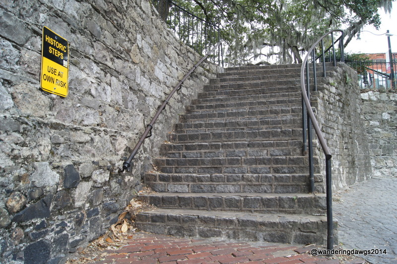Historic stone steps leading to River Street