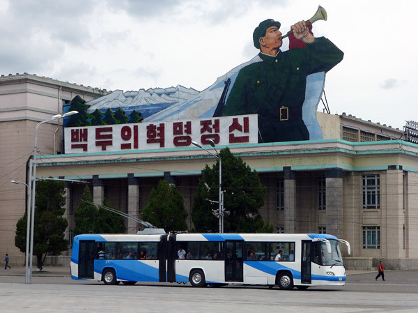 Bus in Kim Il-sung Square, Pyongyang