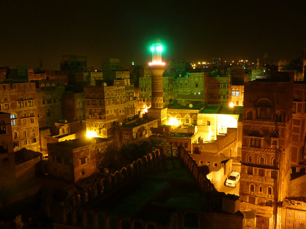 Dawood Hotel, Sanaa, Yemen (night view from roof)