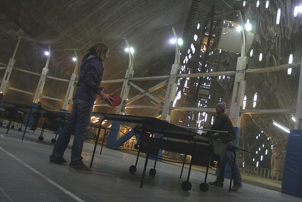 Ping-pong at the Turda Salt Mine