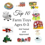 Toys that include farm animals and sounds of course, books, bouncers, anything that keeps kids entertained. These farm toys are approved by my 2 under 2.