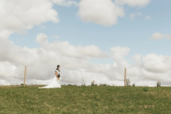 bride and groom walking on your farm field. the perfect way to make money from the land you have