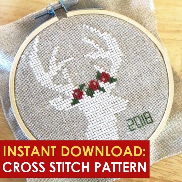 Cross stitch this deer,  1 of 101 winter activities for the entire family, including children and toddlers. Stay busy, healthy and happy this winter season with our list of free fun frugal activities that beat the winter blues
