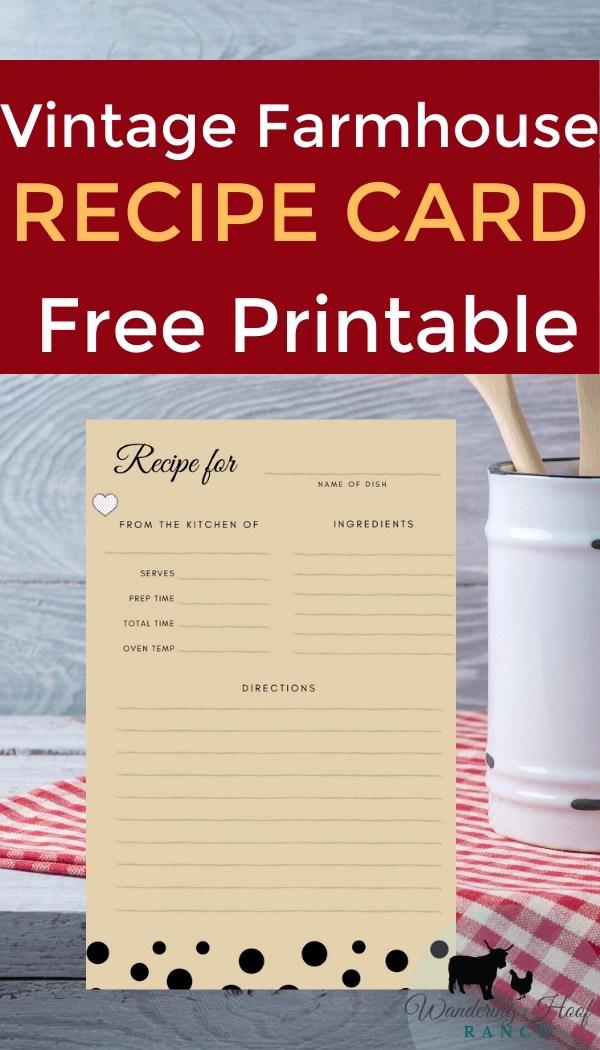 vintage farmhouse recipe card free printable pin image