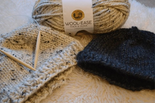 knit toddler hats with yarn and needles