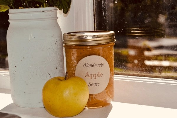 apple sauce, apple and mason jar sitting on a window sill with a vase of flowers