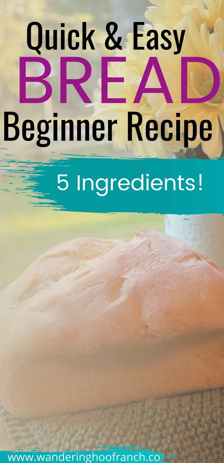 Quick and Easy Bread Beginner Recipe with 5 Ingredients Pin Image