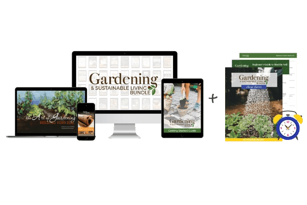 the gardening and sustainable living bundle image including cheatsheets