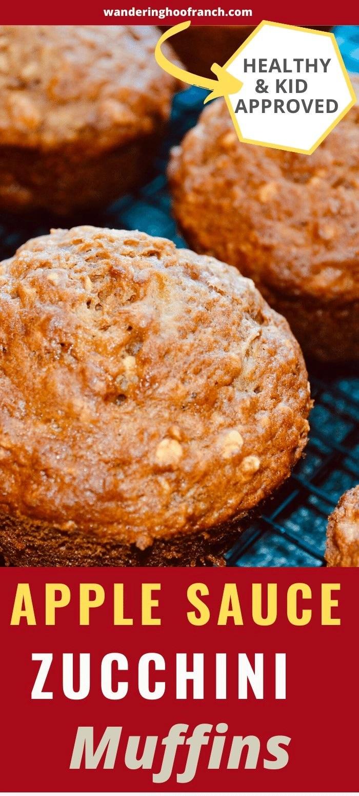 zucchini apple muffins pin image