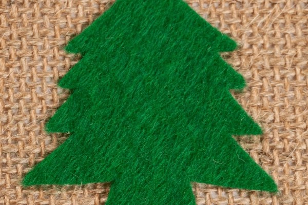 burlap and felt tree Christmas card