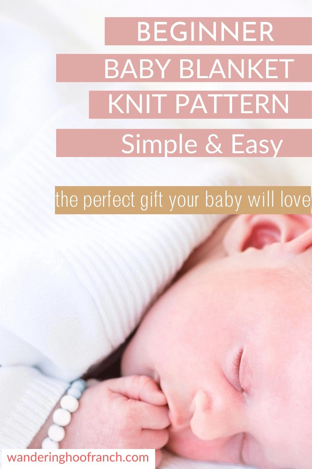 beginner baby blanket knit pattern pin text on white background with sleeping baby