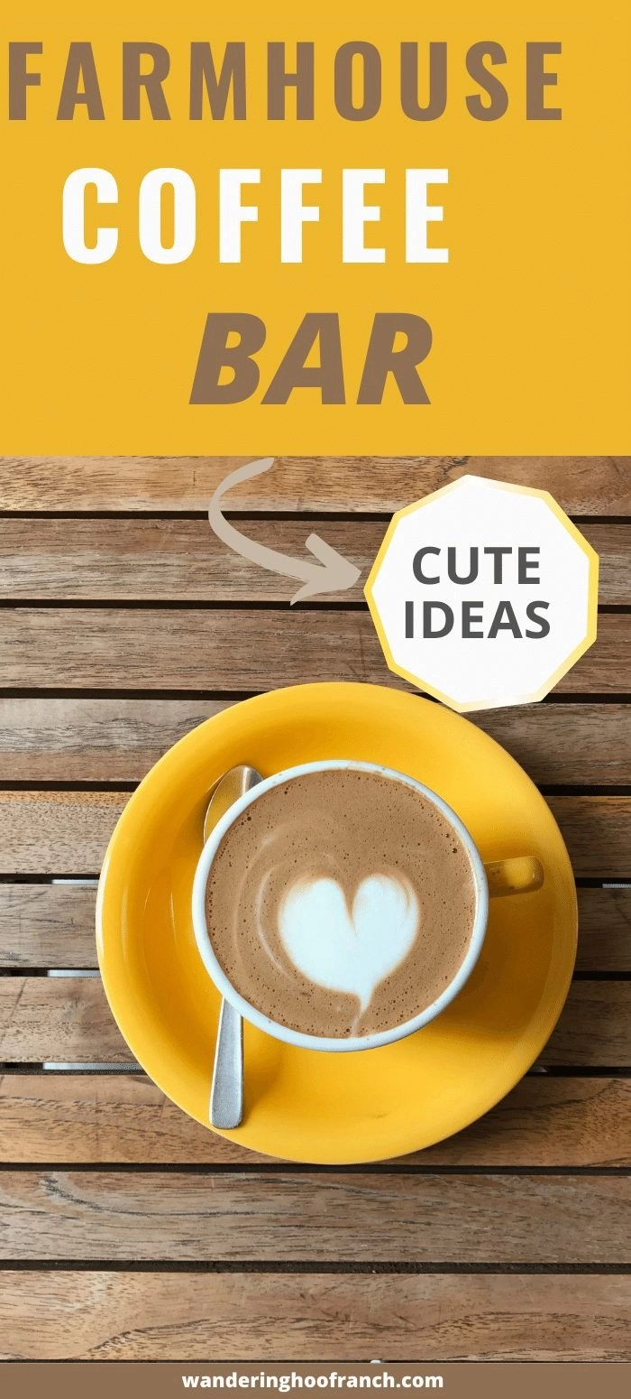farmhouse coffee bar ideas, cup of coffee with latte milk heart sitting on a yellow saucer.