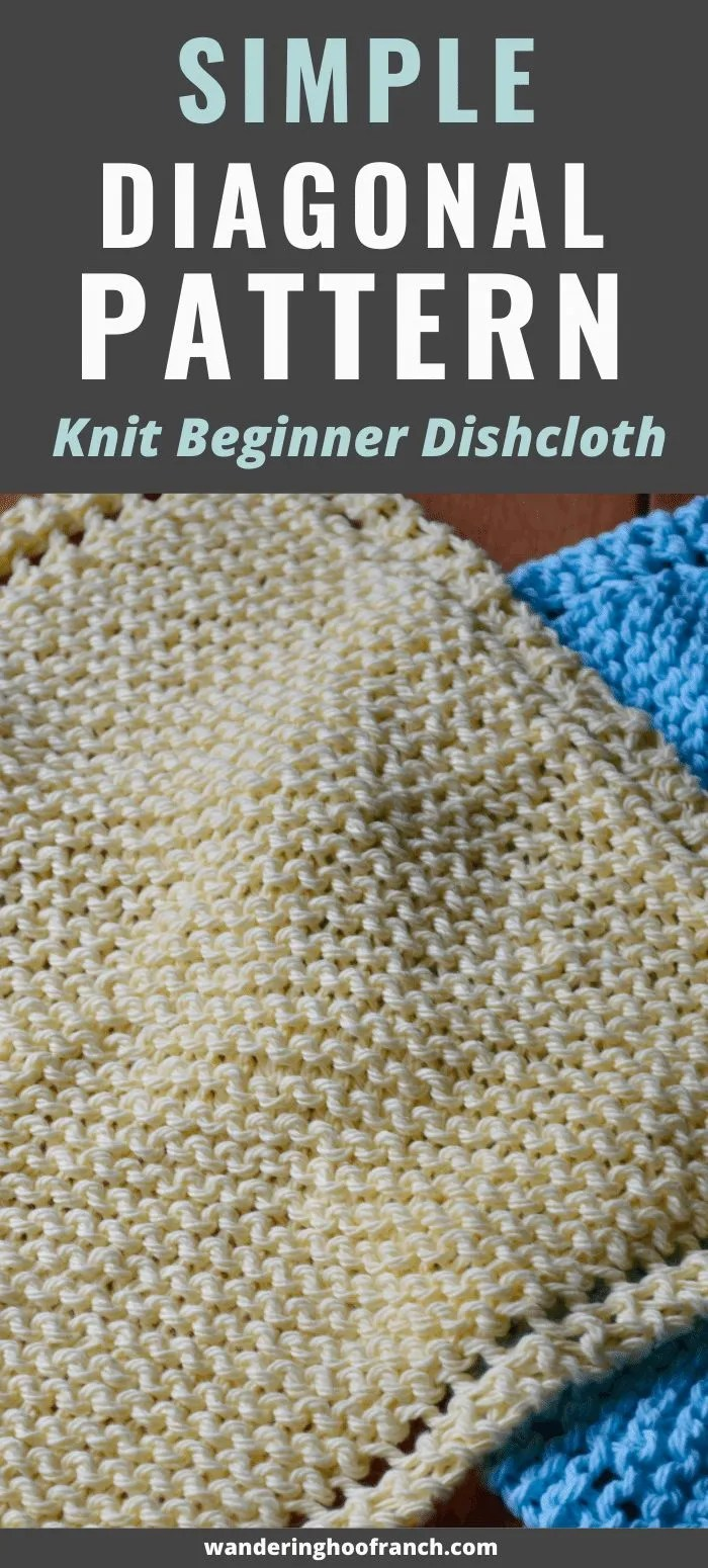 Yellow knitted dishcloth and blue knitted dishcloth set behind on kitchen counter to display the knitted dishcloth patter for beginners, grandmothers dishcloth knit on a diagonal garter stitch with two stitch border