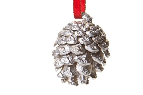 Silvermans painted pinecone on a red ribbon for a Christmas ornament