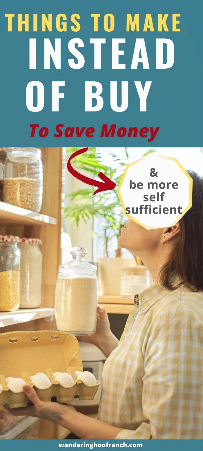 things to make at home instead of buy to save money and be more self sufficient. woman in front of her pantry
