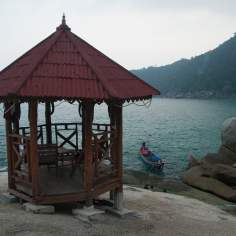 The gazebo in front of Bamboo Hut on the rocks above Haad Yuan