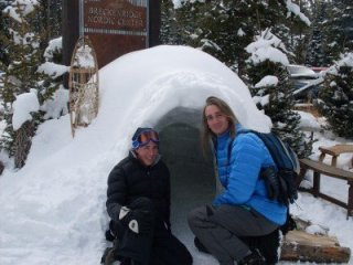 Checking out the Breckenridge Nordic Center's igloo. Awesome! Now build your own and sleep in it!