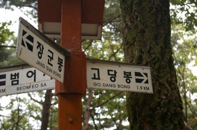 The Hangul characters on these signs are about as helpful as some travel guidebooks.