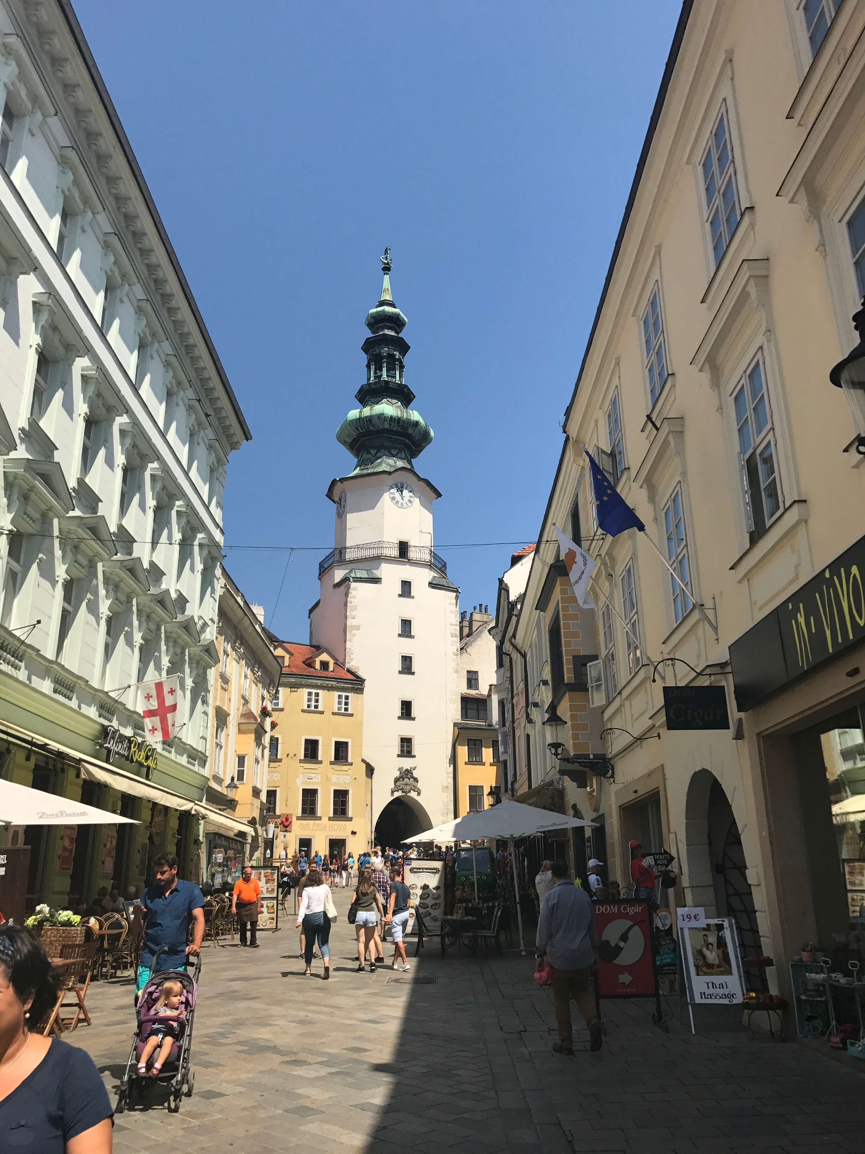 View of Michael's Gate from one of the busy shopping streets in Bratislava.