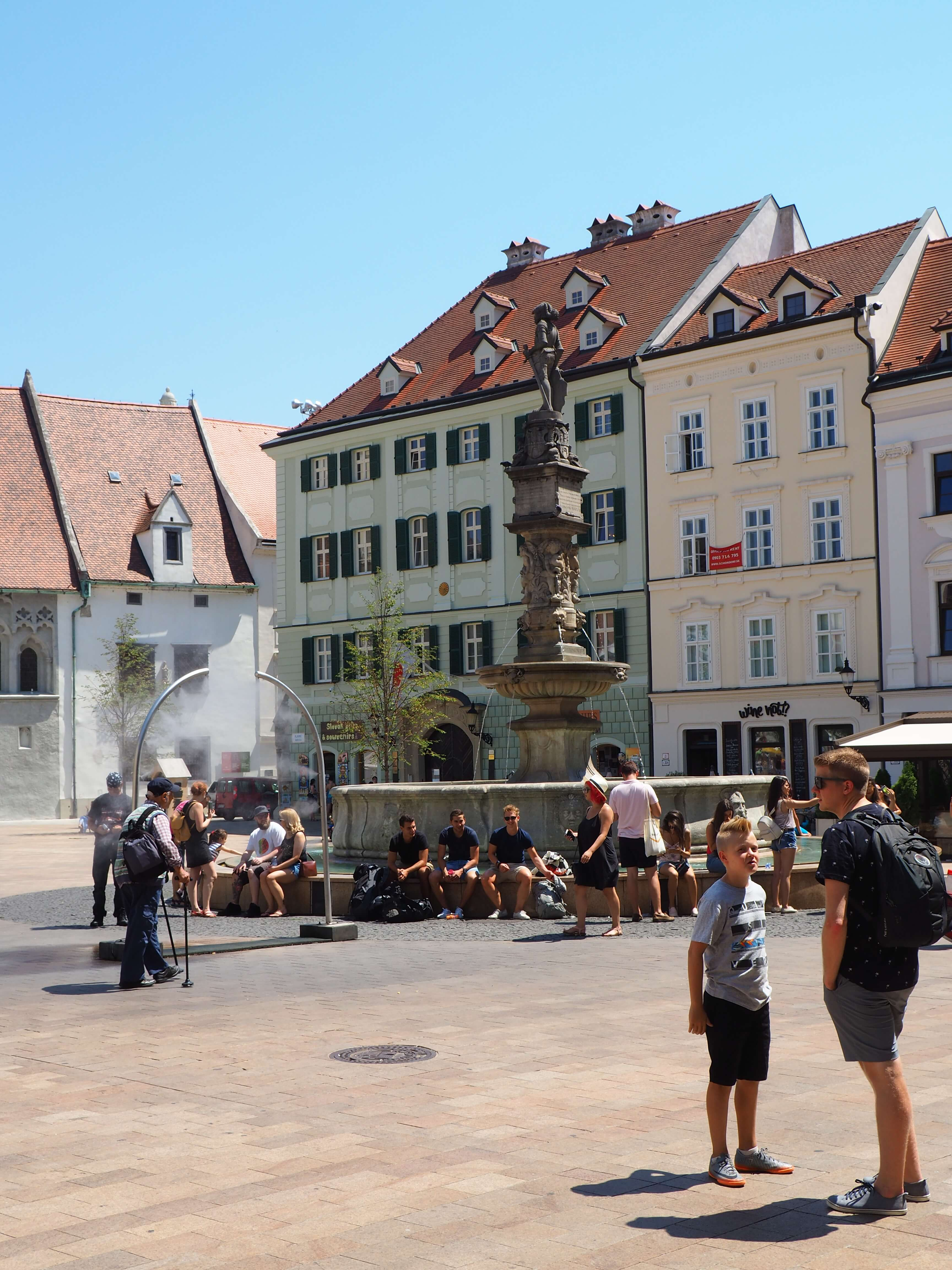 View of Bratislava town square and fountain.