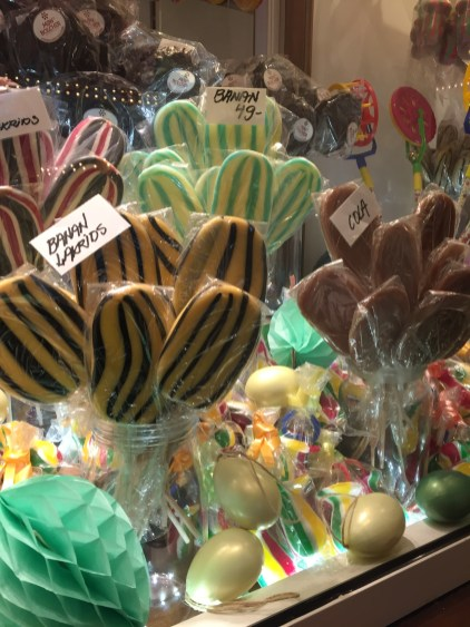 Licorice and banana flavored lollipops on sale at Tivoli Gardens.