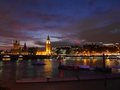 Thames path lit up - Westminster
