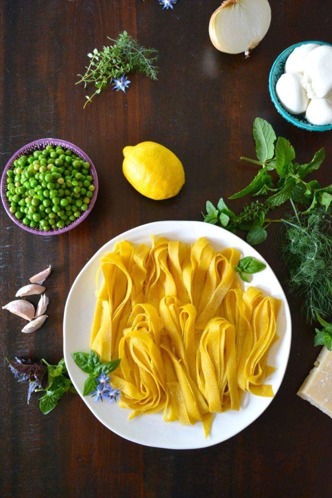 Spring Pea & Herb Pasta with Fresh Burrata