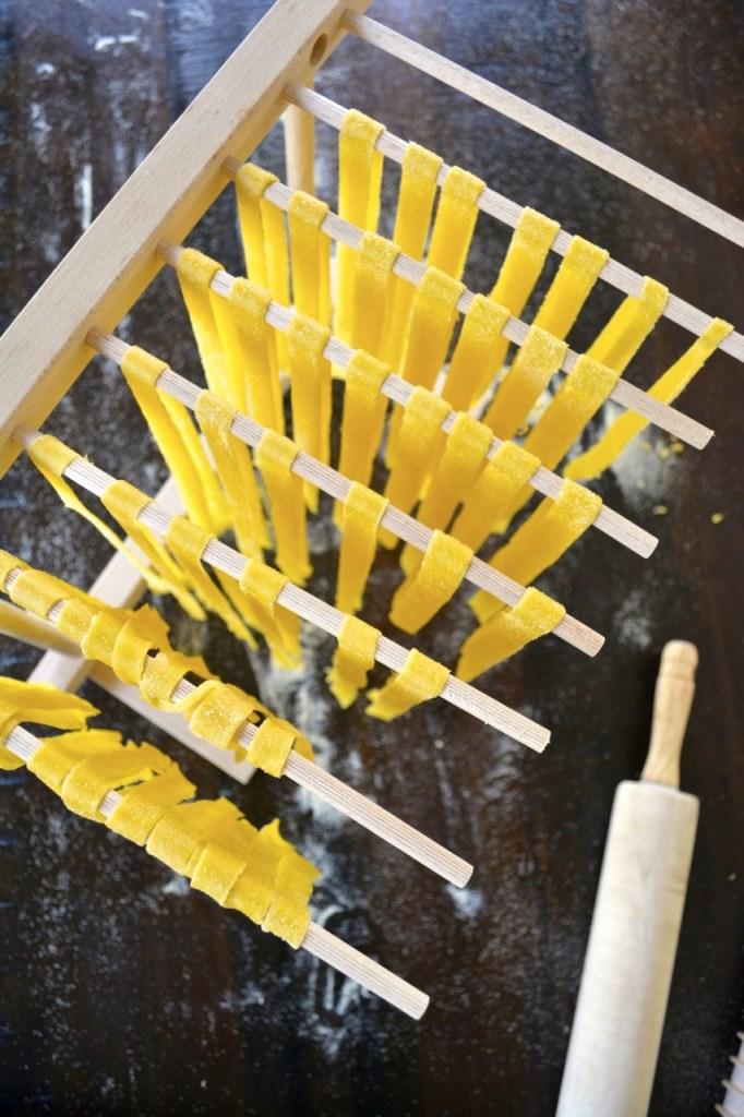 Homemade Fettuccine Noodles - pasta drying