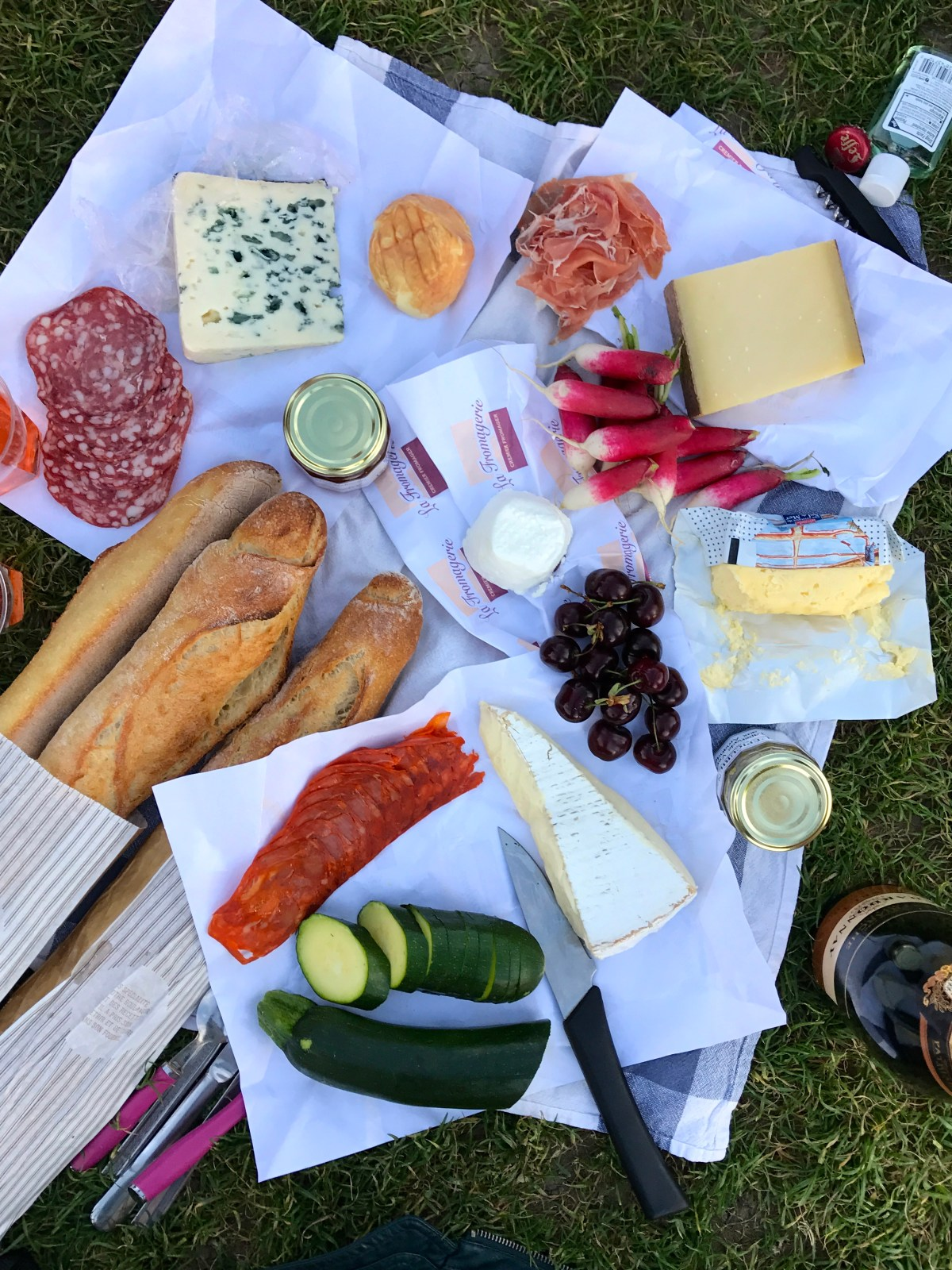 Garden Radishes with Sea Salt and Butter - Parisian picnic in front of the Eiffel tower with baguette, cheese, prosciutto, sea salted butter, radishes, and zucchini