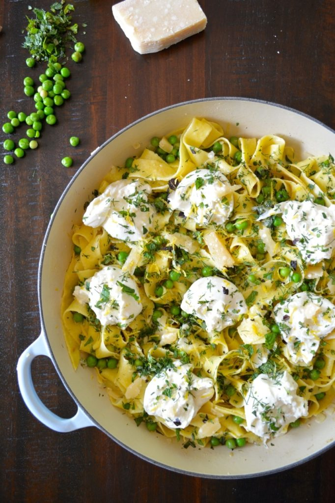 Spring Pea & Herb Pasta with Fresh Burrata