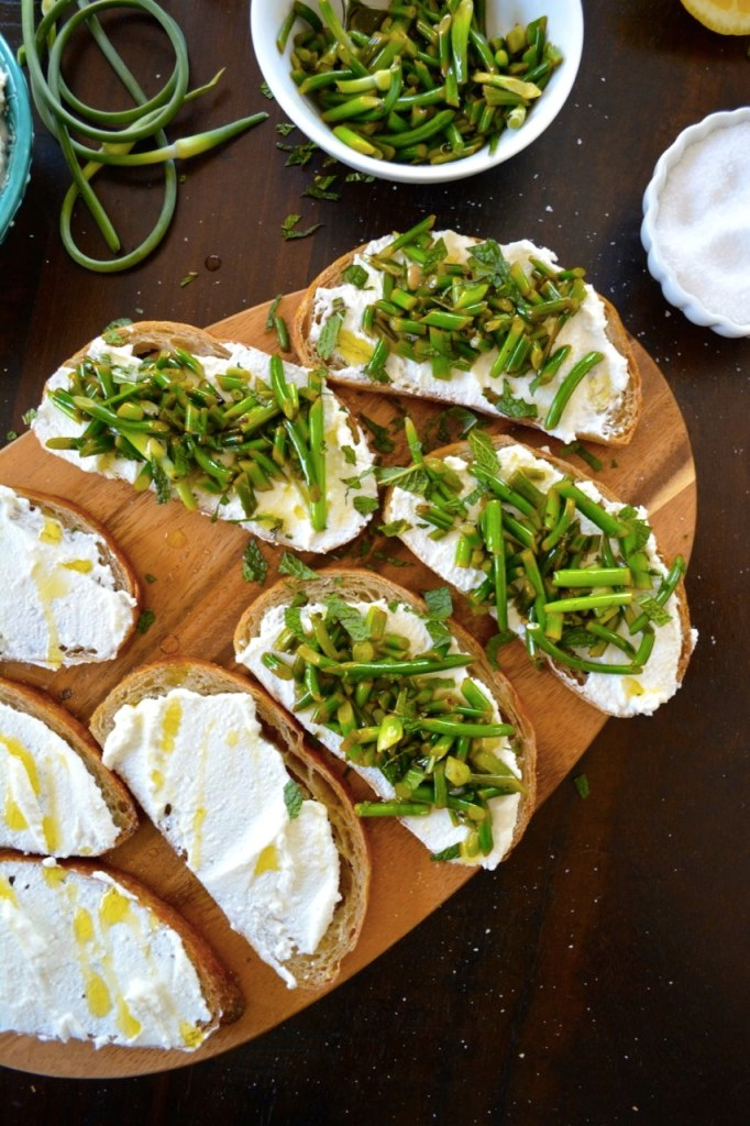 Garlic Scape and Ricotta Crostini, a perfect summer appetizer recipe!