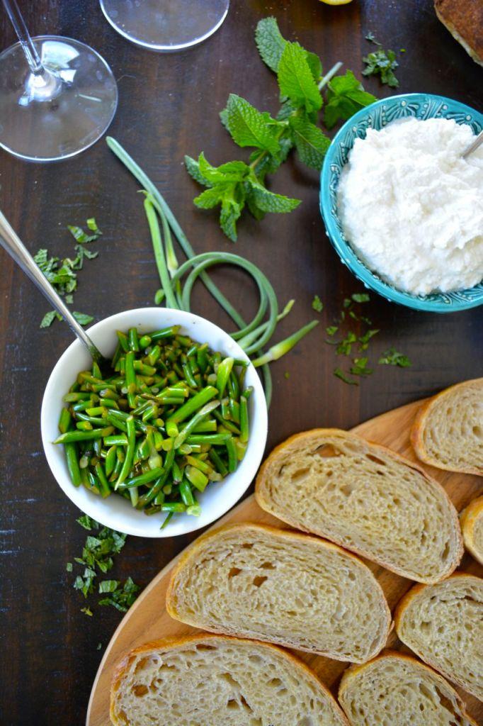 Quick sauteed garlic scapes - perfect in Garlic Scape and Ricotta Crostini