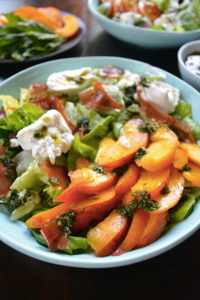 Peach and Burrata Salad with Sweet Basil Vinaigrette