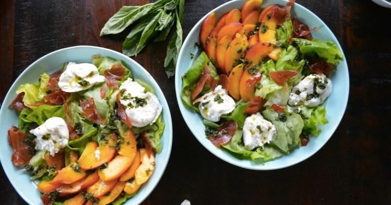 Peach & Burrata Salad with Sweet Basil Vinaigrette
