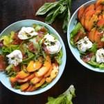 Peach and Burrtata Salad with Sweet Basil Vinaigrette