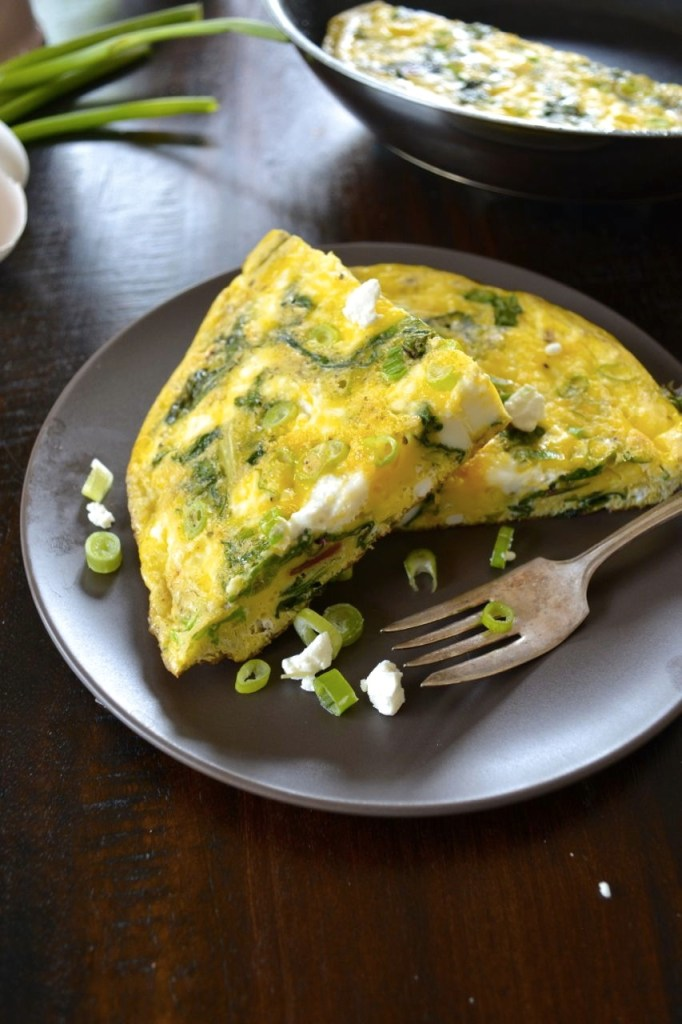 Easy Swiss Chard and Goat Cheese Frittata Recipe - an Italian breakfast favorite perfect as a make ahead breakfast for busy mornings!
