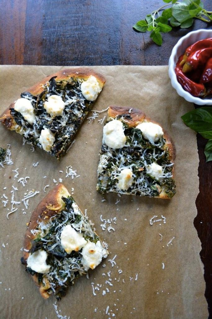 Spicy Kale and Ricotta Pizza