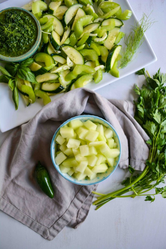 Honeydew & Celery Salad with Spicy Herb Dressing