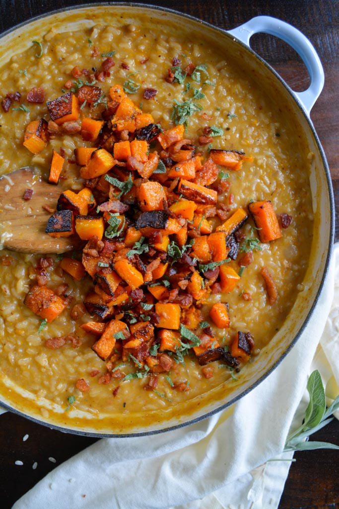 Roasted Butternut Squash Risotto with Crispy Pancetta