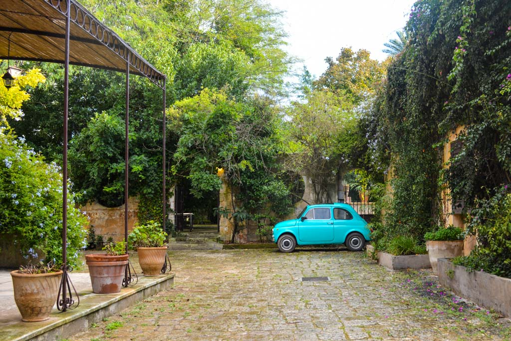 Courtyard of the Awaiting Table Cooking School in Puglia, Italy