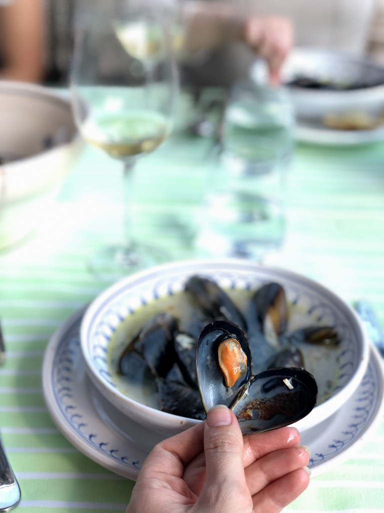 Mussels in white wine and olive oil at the Awaiting Table Cooking School in Puglia, Italy