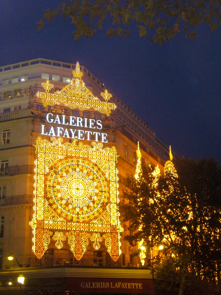 The decorated streets of Paris during Christmas