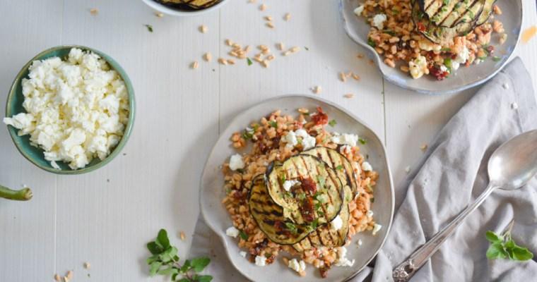 Charred Eggplant & Farro Salad