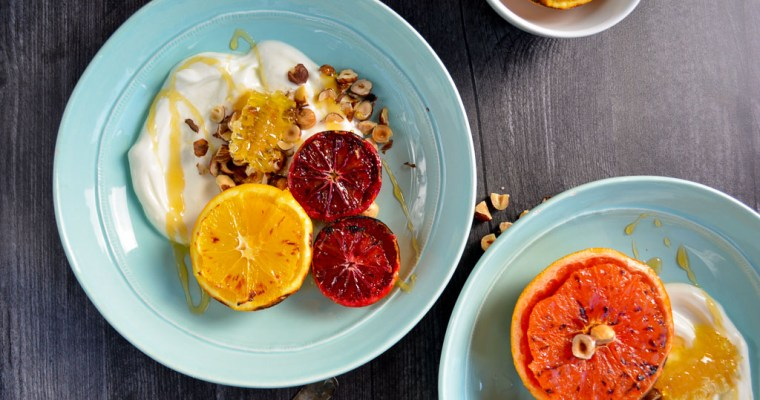 Broiled Citrus with Honey & Hazelnuts
